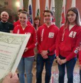 """Verona, accolti in municipio gli studenti del Don Bosco """"Campioni mondiali di robotica"""" a Houston"""