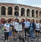 Partita questa mattina dalla Bra la pedalata sulla Ciclovia dell'Adige fino a Rosolina