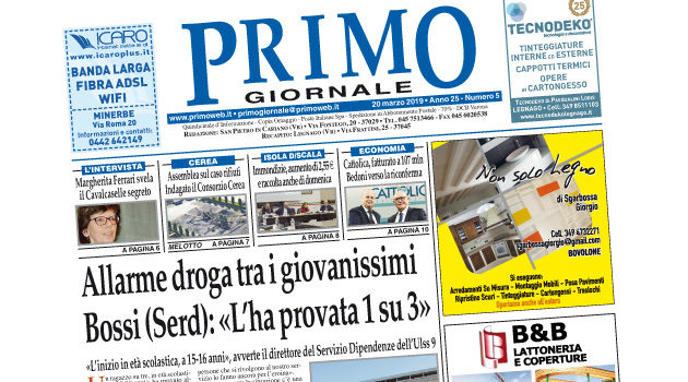 Primo Giornale, in distribuzione nel Basso Veronese il numero del 20 marzo